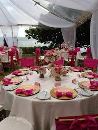 Beautiful pink wedding decorations at The Kahala Hotel & Resort