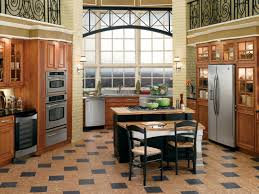 stylish basketweave kitchen floor tile design and arrangement in a