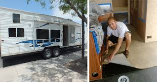 They Transformed The Inside Of Their Old School Camper To Turn It Into A Modern Tiny