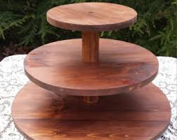 Cupcake Stand Rustic Cake Wood 3Tier