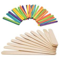 50pcs Popsicle Sticks 114cm Kids Handwork Art Crafts Ice Cream Cake Tools DIY Rainbow Wooden
