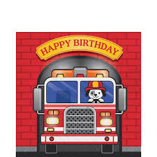 100 Fire Truck Birthday Party Lunch Napkins 16ct