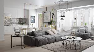 wohnzimmer skandinavischer stil geometrische formen grau