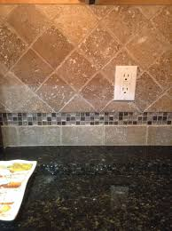 new travertine tile backsplash with glass mosaic accent home