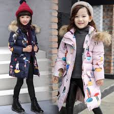 Childrens Down Jacket Big Fur Collar Long Thick Teen Girls Winter Coat Duck Kids