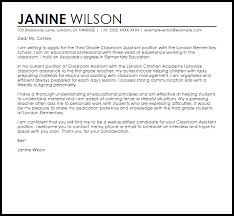 Classroom Assistant Cover Letter Sample