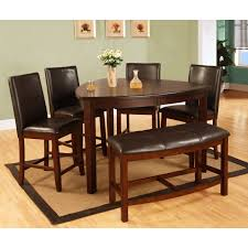 BQ D876 6 Pc Dark Cherry Finish Wood Rounded Triangular Shaped Counter Height Dining Table
