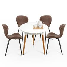 5PC Modern Dining Table Set Crazy Horse Leather Cushion Dining Chairs &  Round White Dining Table 6090-Bend-1DG+6090-Bsic-1TR