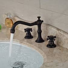 classic style deck mounted widespread bathroom faucet in oil