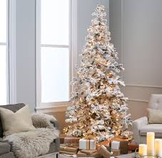 Prodigious Painted Flocked Tree At Home Also Barkers To White