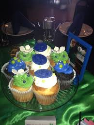 Blue Green Satin Cupcakes