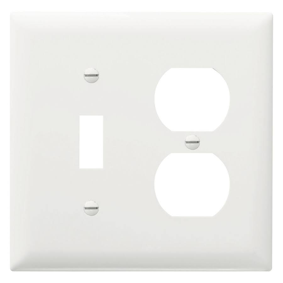 Pass And Seymour TP18-W Switch and Duplex Standard Receptacle Plates - White, 2 Gang