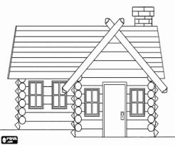 Wooden House Or Log Cabin Coloring Page Printable Game