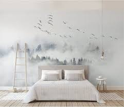 foggy mountain and birds wallpaper removable forest