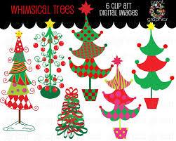 Christmas Tree Clipart Whimsical Digital Clip Art Printable