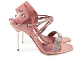 pedro garcia high heel crystal sandal monique in pink satin
