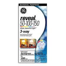 ge reveal 3 way light bulb 50 watts100 watts150 watts by office