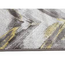 Ella Chevron Modern Rug Grey Yellow Floor Rugs Free Shipping Side Image