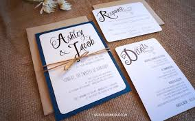 Rustic Navy Wedding Invitation With RSVP And Detail Card
