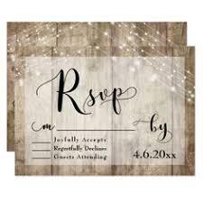 Rustic Light Brown Wood Lights Wedding RSVP 3 Card