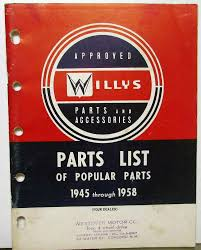1945-58 Willys Dealer Popular Parts List Book Jeep Jeepster Wagon ...