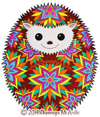 Hipster Coloring Book Hedgehog By Thaneeya