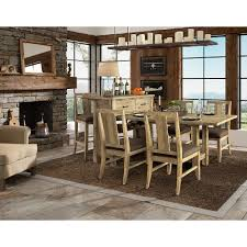 Natural 8 Piece Dining Duo With Sideboard And Stools