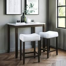 Nathan James Viktor 3-Piece White And Dark Brown Pub Table Set 41202 ...