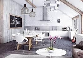 tapisserie salon salle a manger papier peint brique pour un salon de style industriel lyon