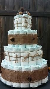 Diaper Cake Woodland Animal Baby Shower Rustic Burlap Acorns