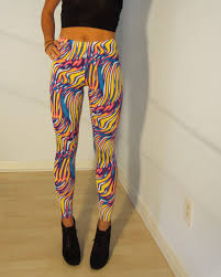 neon jungle psychedelic spandex leggings bright yellow pink blue s