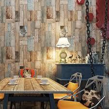 Colomac 3D Non Woven Mediterranean Vintage Living Room Color Wood Wallpaper Roll Waterproof Bedroom TV