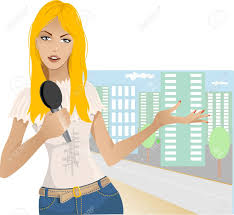 Reporter Girl Stock Vector