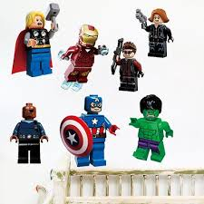 3d the lego movie avengers super heroes wall stickers for kids