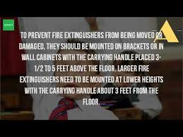 Nfpa 10 Fire Extinguisher Cabinet Mounting Height by How Should Fire Extinguishers Be Placed Youtube