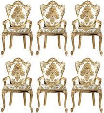 casa padrino luxus barock esszimmerstuhl set weiß gold 6 handgefertigte küchen stühle mit armlehnen und elegantem muster barock esszimmer möbel