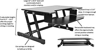 Standing Desk Top Extender Riser by Rocelco Adr 32in Sit To Stand Adjustable Desk Riser W Sliding