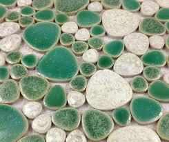 glazed porcelain wall tiles pebble mosaic ppmt059 green bathroom