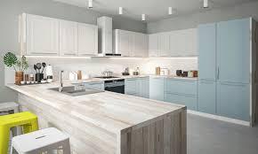 u form küchenzeile rimini einbauküche 220x363x295cm weiß reinweiß pastellblau matt lackiert