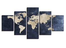Image Is Loading Large Framed Picture Abstract Gray Blue World Map