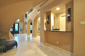 modern hallway with transom window crown molding in bellaire tx