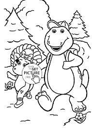 Barney Walk With Friend Coloring Pages For Kids Printable Free