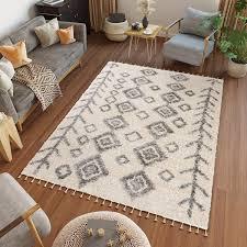 ethno stil meliert 80x200 cm grau creme teppiche mit fransen