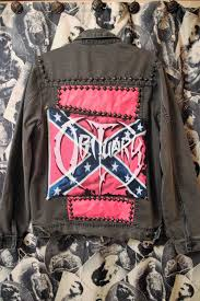 Rebel Flag Bedding by Death Metal Obituary Band Battle Jacket Studded Patch Black
