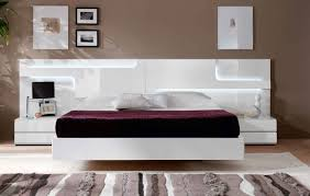 Lacquered Made in Spain Wood Platform and Headboard Bed with Extra