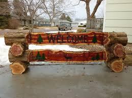 NIce Double Cedar Log Welcome Sign I Made
