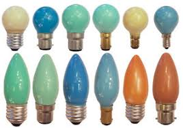 40w 240v coloured light bulbs golf globes and candles