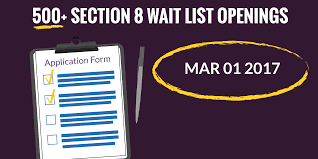 New Section 8 Waiting List Openings – 3 1 2017 Affordable