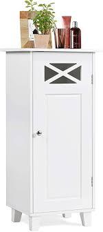 costway badezimmerschrank mit höhenverstellbarer ablage badschrank 3 fächer bad midischrank badkommode freistehend beistellschrank für badezimmer
