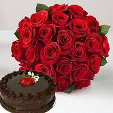 Buy Fresh Flowers With Chocolate Cake Same Day Delivery online